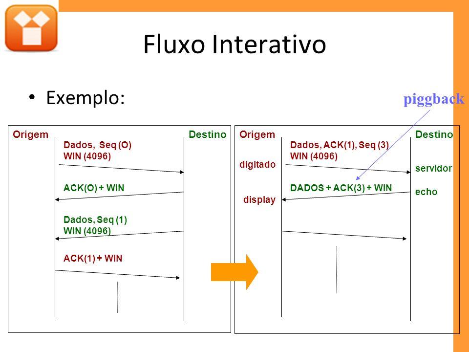 Fluxo Interativo Exemplo: DestinoOrigem Dados, Seq (O) WIN (4096) ACK(O) + WIN ACK(1) + WIN Dados, Seq (1) WIN (4096) DestinoOrigem Dados, ACK(1), Seq (3) WIN (4096) DADOS + ACK(3) + WIN digitado servidor echo display piggback