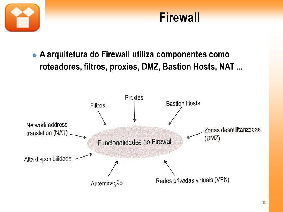 Firewall A arquitetura do Firewall utiliza componentes como roteadores, filtros, proxies, DMZ, Bastion Hosts, NAT...