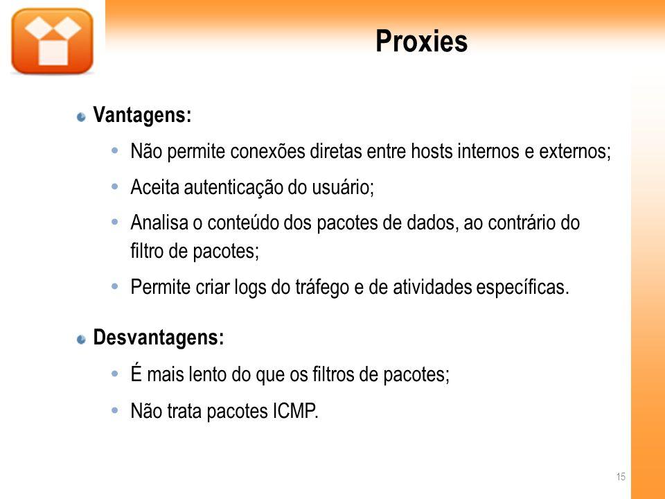 Proxies Vantagens: Não permite conexões diretas entre hosts internos e externos; Aceita autenticação do usuário; Analisa o conteúdo dos pacotes de dados, ao contrário do filtro de pacotes; Permite criar logs do tráfego e de atividades específicas.