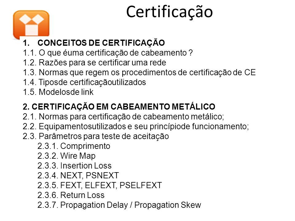 1.CONCEITOS DE CERTIFICAÇÃO 1.1. O que éuma certificação de cabeamento ? 1.2. Razões para se certificar uma rede 1.3. Normas que regem os procedimento