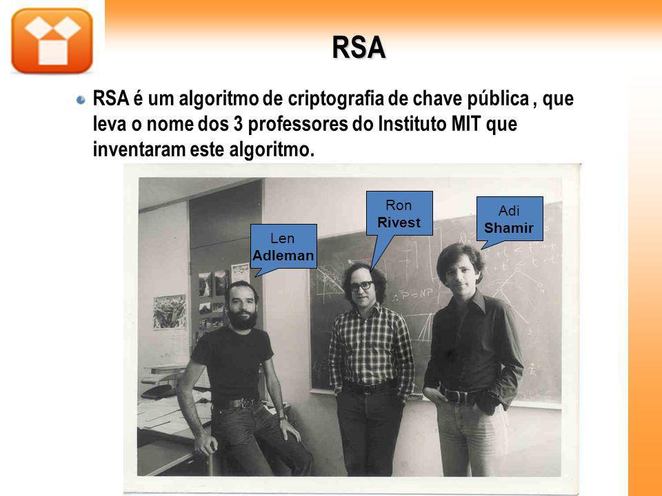 RSA RSA é um algoritmo de criptografia de chave pública, que leva o nome dos 3 professores do Instituto MIT que inventaram este algoritmo. Ron Rivest