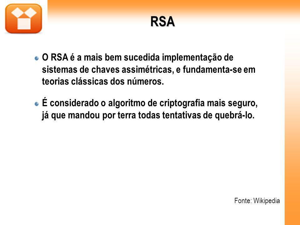 RSA O RSA é a mais bem sucedida implementação de sistemas de chaves assimétricas, e fundamenta-se em teorias clássicas dos números. É considerado o al