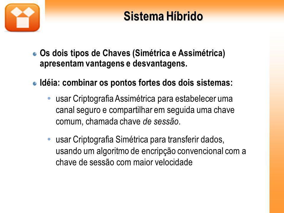 Sistema Híbrido Os dois tipos de Chaves (Simétrica e Assimétrica) apresentam vantagens e desvantagens. Idéia: combinar os pontos fortes dos dois siste