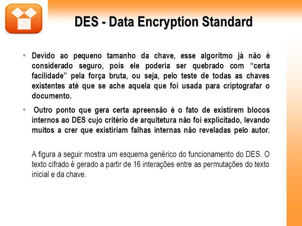 DES - Data Encryption Standard Devido ao pequeno tamanho da chave, esse algoritmo já não é considerado seguro, pois ele poderia ser quebrado com certa