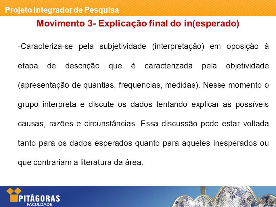 Projeto Integrador de Pesquisa Movimento 8 - Conclusão -Irá aparecer como uma seção independente explicitamente sinalizada por um título como conclusão ou considerações finais (preferencialmente).