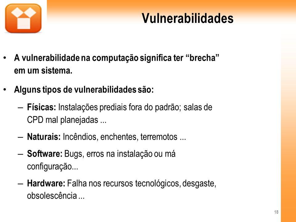Vulnerabilidades A vulnerabilidade na computação significa ter brecha em um sistema. Alguns tipos de vulnerabilidades são: – Físicas: Instalações pred
