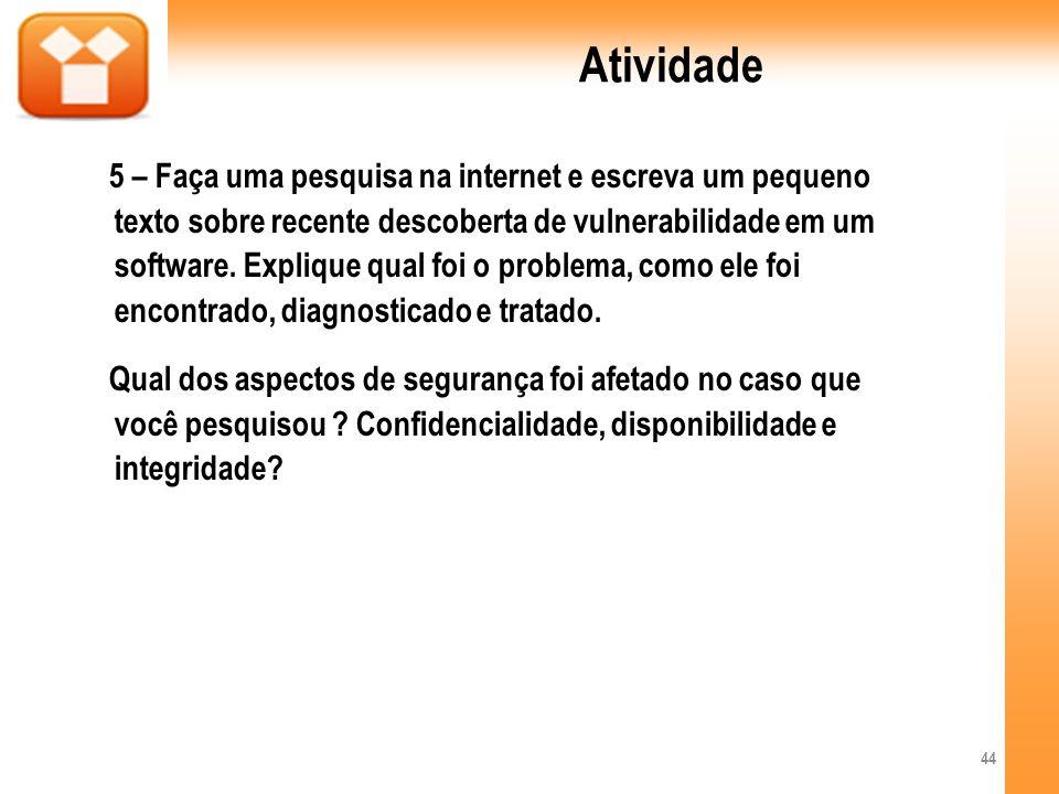 Atividade 5 – Faça uma pesquisa na internet e escreva um pequeno texto sobre recente descoberta de vulnerabilidade em um software. Explique qual foi o