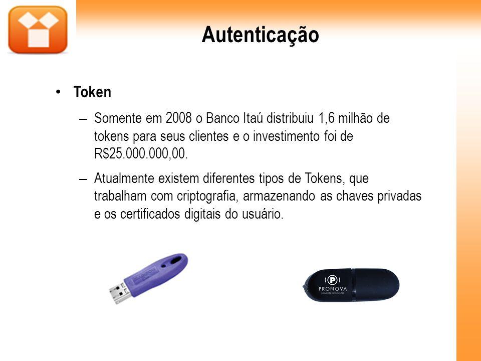 Autenticação Token – Somente em 2008 o Banco Itaú distribuiu 1,6 milhão de tokens para seus clientes e o investimento foi de R$25.000.000,00. – Atualm
