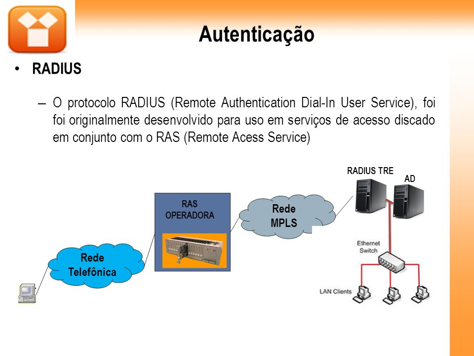 – O protocolo RADIUS (Remote Authentication Dial-In User Service), foi foi originalmente desenvolvido para uso em serviços de acesso discado em conjun