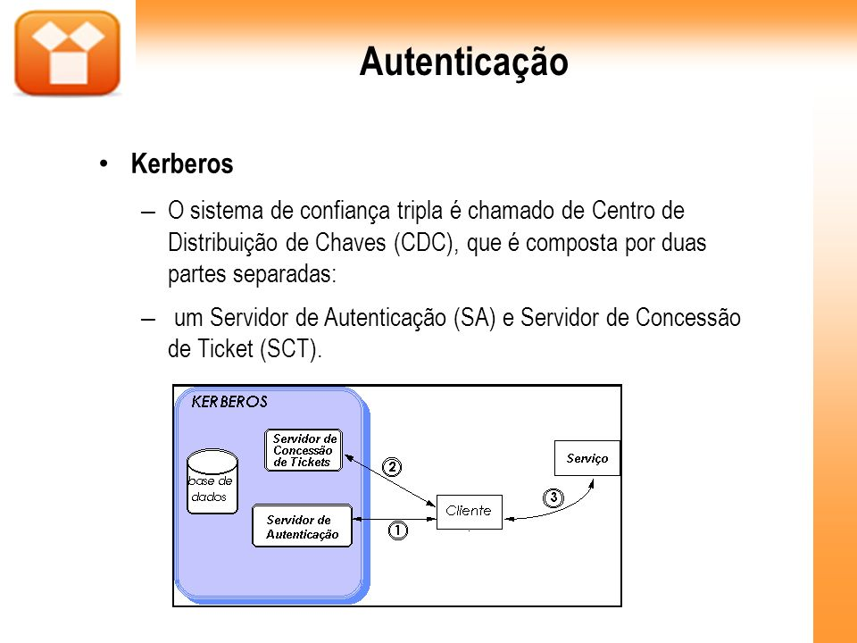 Autenticação Kerberos – O sistema de confiança tripla é chamado de Centro de Distribuição de Chaves (CDC), que é composta por duas partes separadas: –