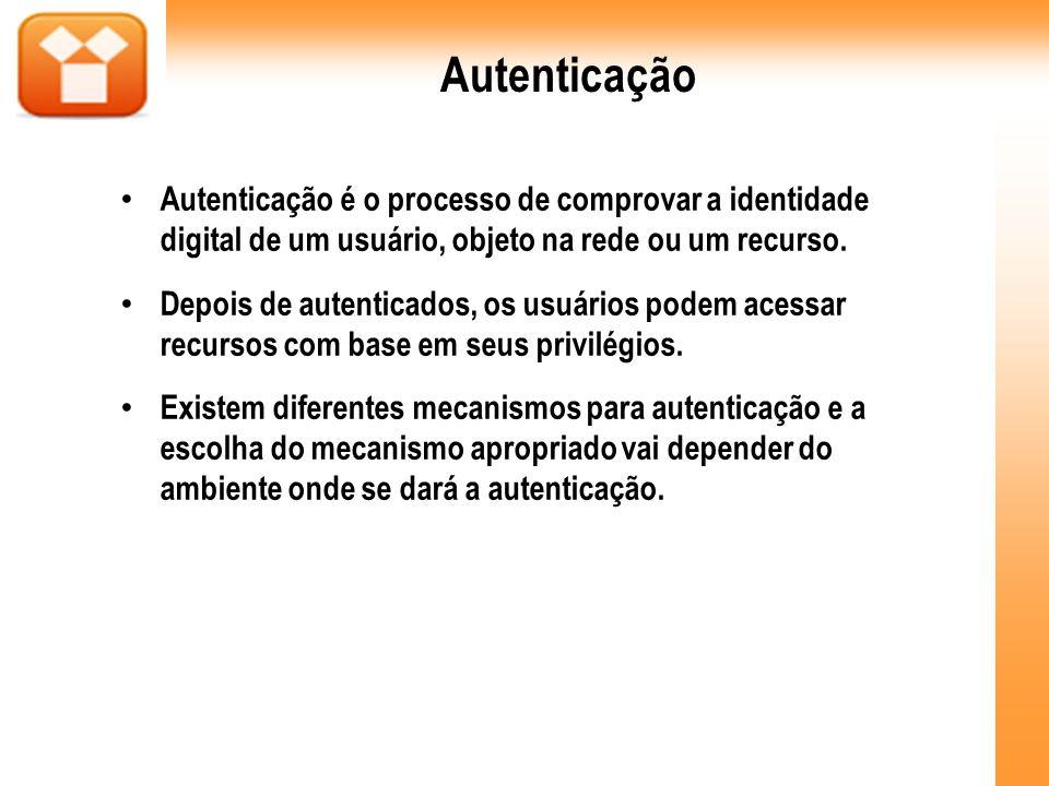 Autenticação Autenticação é o processo de comprovar a identidade digital de um usuário, objeto na rede ou um recurso. Depois de autenticados, os usuár