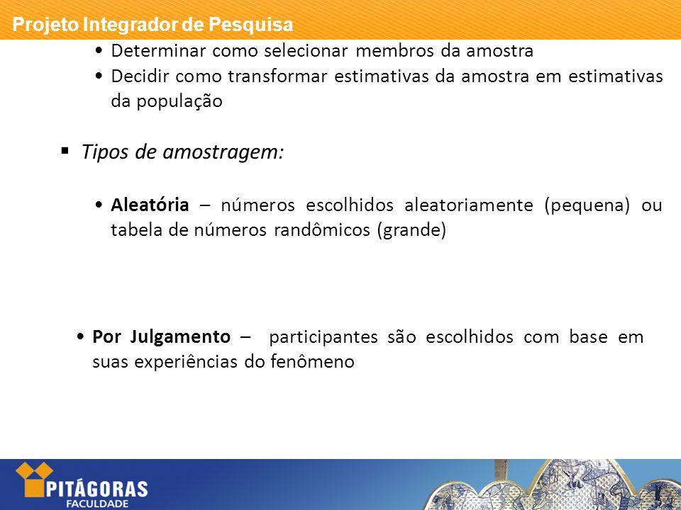 Projeto Integrador de Pesquisa Determinar como selecionar membros da amostra Decidir como transformar estimativas da amostra em estimativas da populaç