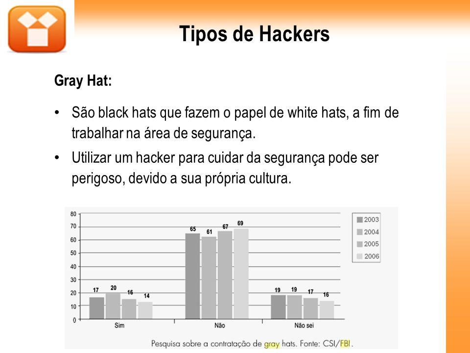 Tipos de Hackers Gray Hat: São black hats que fazem o papel de white hats, a fim de trabalhar na área de segurança. Utilizar um hacker para cuidar da