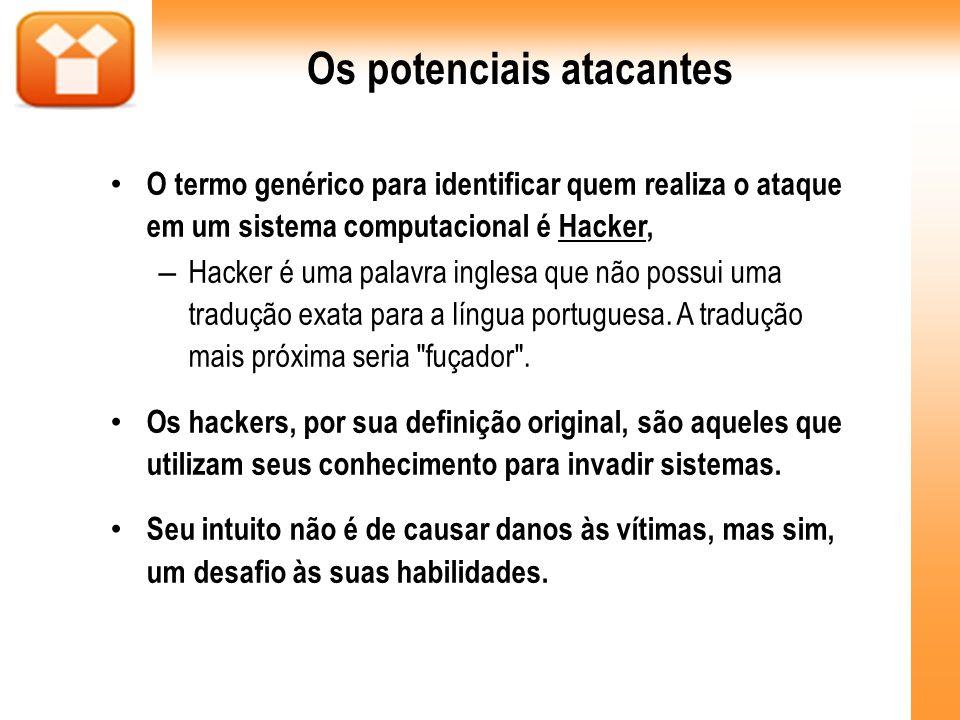 Os potenciais atacantes O termo genérico para identificar quem realiza o ataque em um sistema computacional é Hacker, – Hacker é uma palavra inglesa q