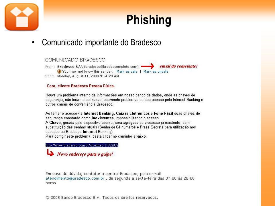 Phishing Comunicado importante do Bradesco
