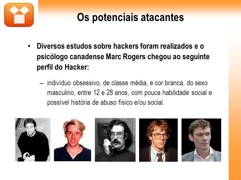 Os potenciais atacantes Diversos estudos sobre hackers foram realizados e o psicólogo canadense Marc Rogers chegou ao seguinte perfil do Hacker: – indivíduo obsessivo, de classe média, e cor branca, do sexo masculino, entre 12 e 28 anos, com pouca habilidade social e possível história de abuso físico e/ou social.