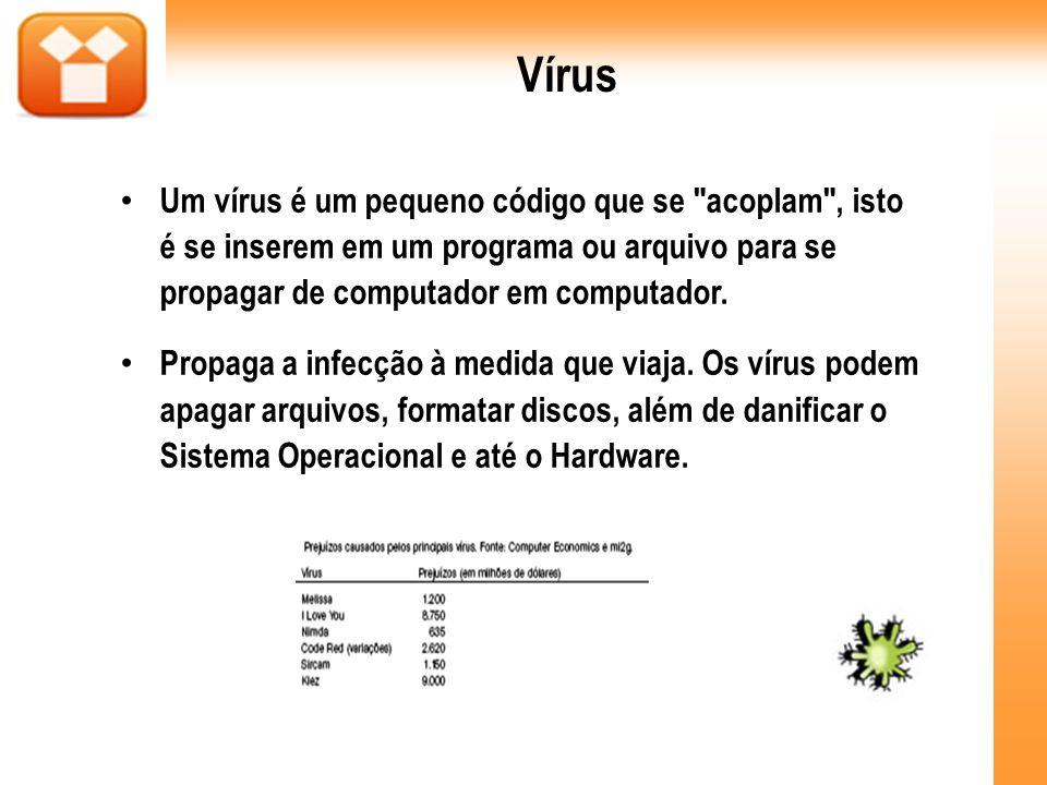 Vírus Um vírus é um pequeno código que se