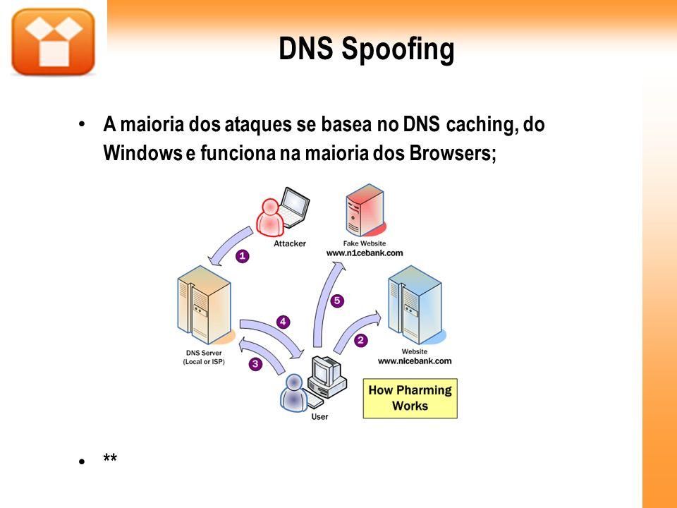 DNS Spoofing A maioria dos ataques se basea no DNS caching, do Windows e funciona na maioria dos Browsers; **