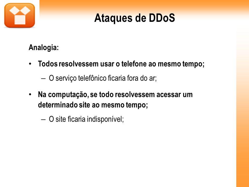 Ataques de DDoS Analogia: Todos resolvessem usar o telefone ao mesmo tempo; – O serviço telefônico ficaria fora do ar; Na computação, se todo resolves
