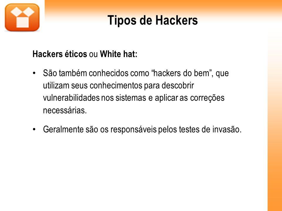 Tipos de Hackers Hackers éticos ou White hat: São também conhecidos como hackers do bem, que utilizam seus conhecimentos para descobrir vulnerabilidad