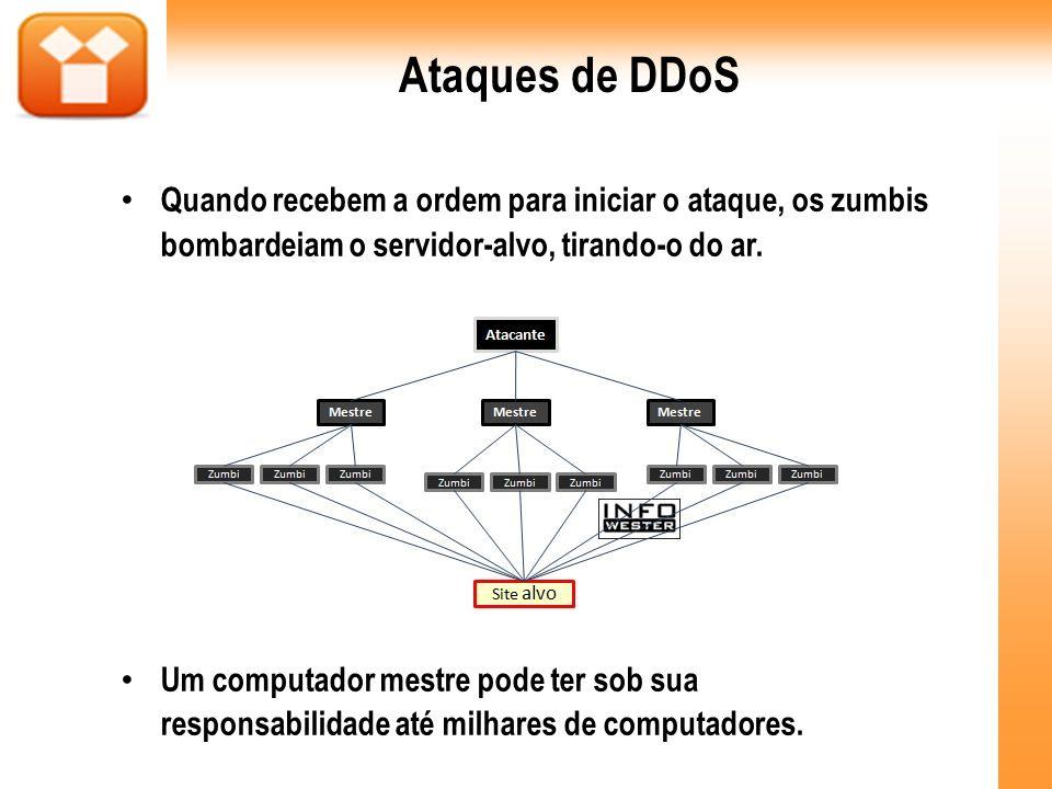 Ataques de DDoS Quando recebem a ordem para iniciar o ataque, os zumbis bombardeiam o servidor-alvo, tirando-o do ar. Um computador mestre pode ter so