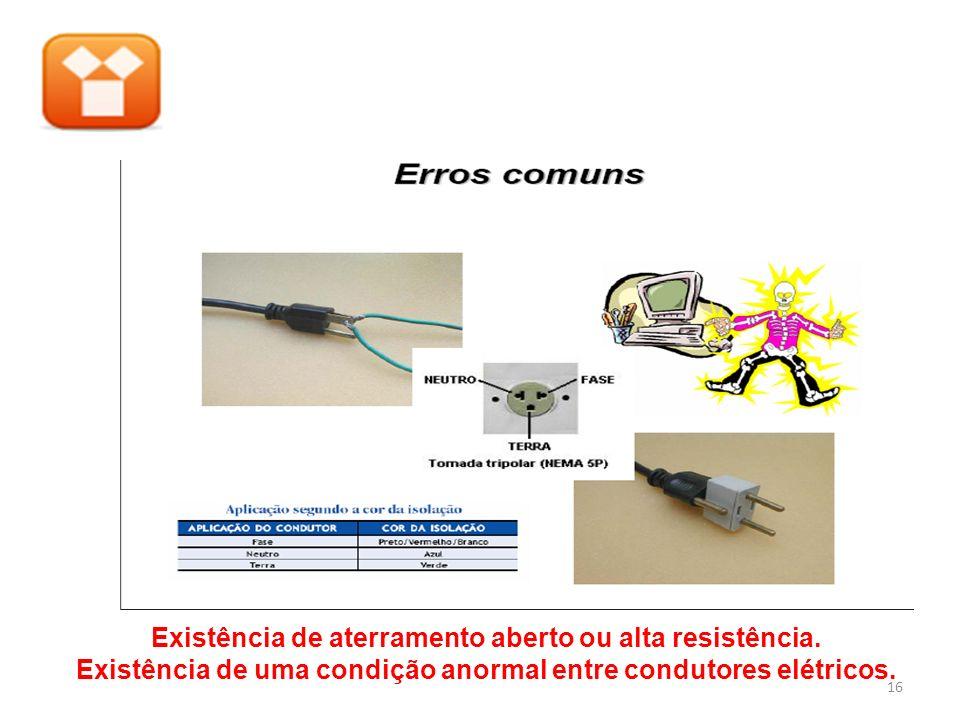 Existência de aterramento aberto ou alta resistência. Existência de uma condição anormal entre condutores elétricos. 16
