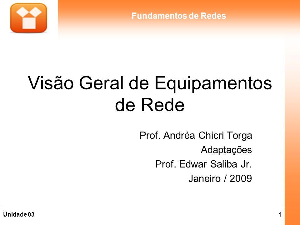 1Unidade 03 Fundamentos de Redes Visão Geral de Equipamentos de Rede Prof.