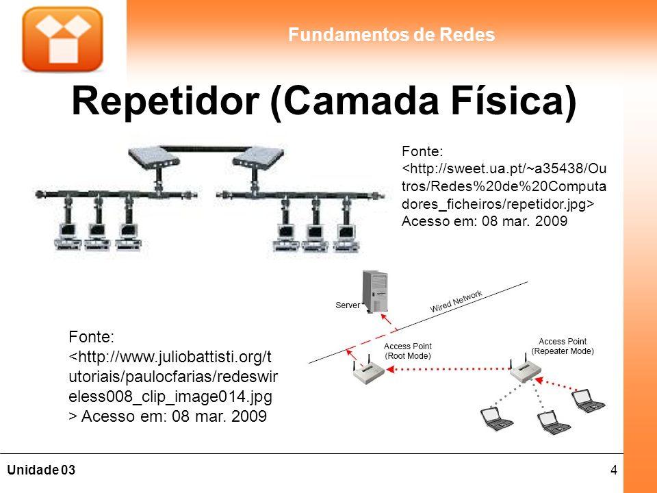 15Unidade 03 Fundamentos de Redes Roteadores (Camada Rede) As etapas de um roteamento: 1.O roteador recebe dados de uma de suas redes conectadas; 2.Verifica o endereço de destino do cabeçalho IP; 3.Consulta uma tabela de roteamento para determinar para onde encaminhará os dados.