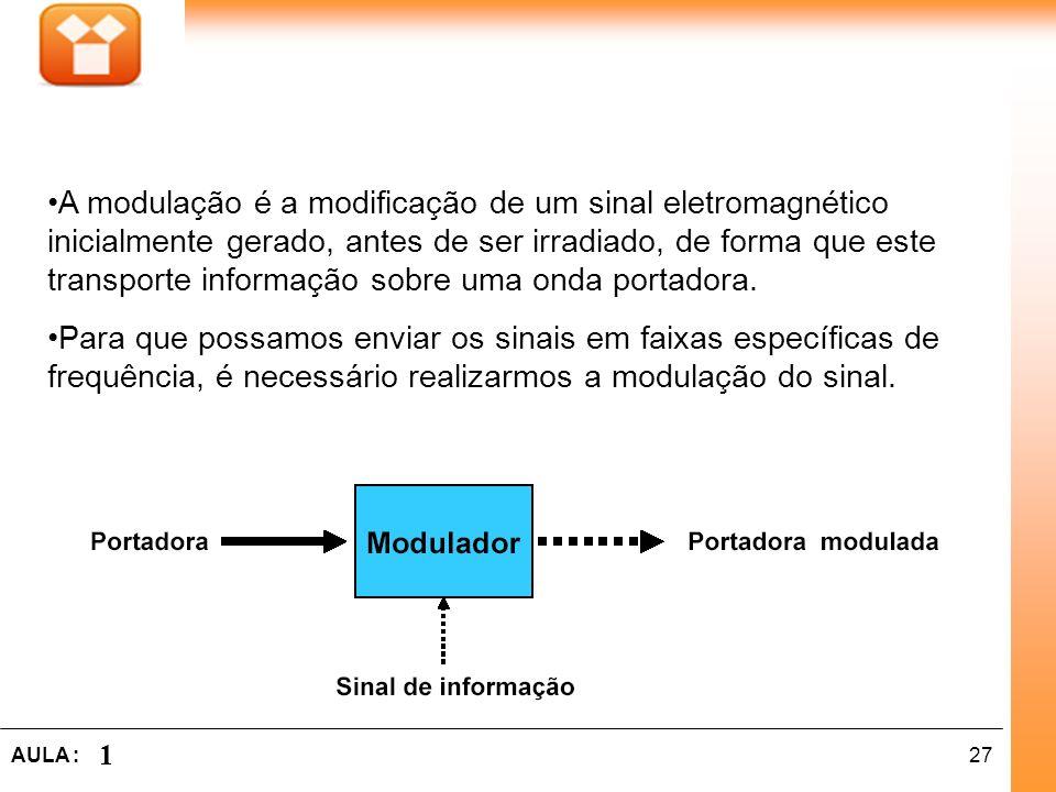 27AULA : 1 A modulação é a modificação de um sinal eletromagnético inicialmente gerado, antes de ser irradiado, de forma que este transporte informaçã