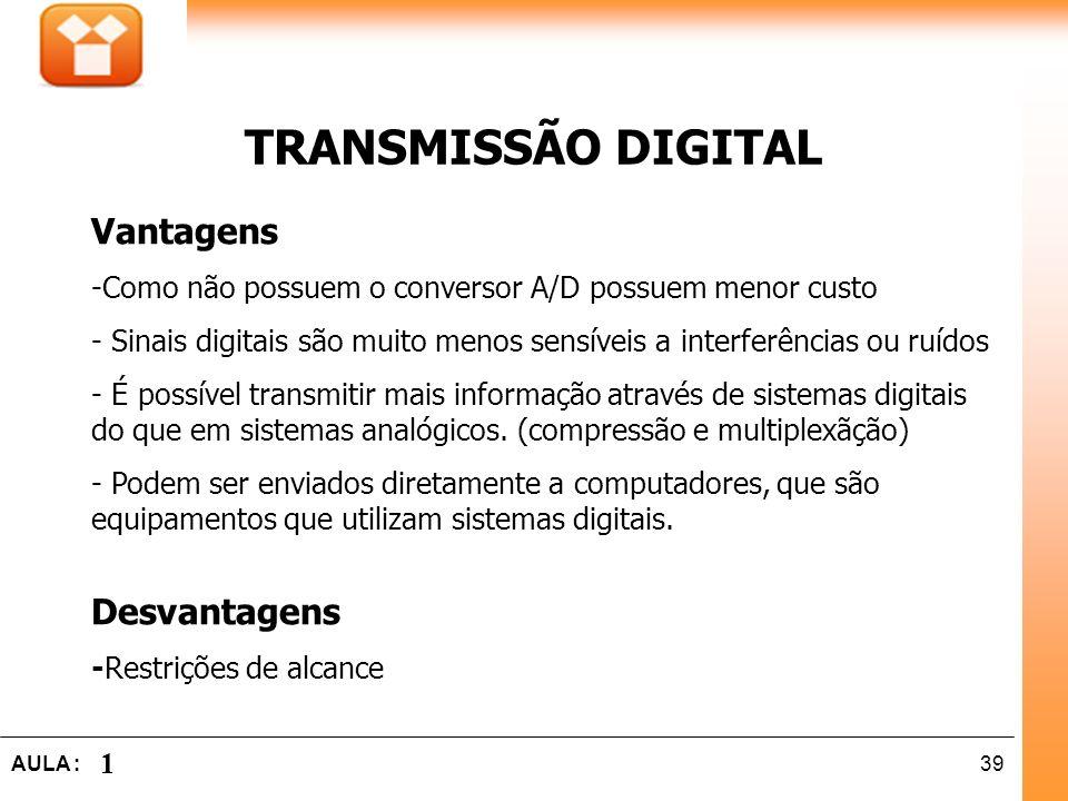 39AULA : 1 Vantagens -Como não possuem o conversor A/D possuem menor custo - Sinais digitais são muito menos sensíveis a interferências ou ruídos - É