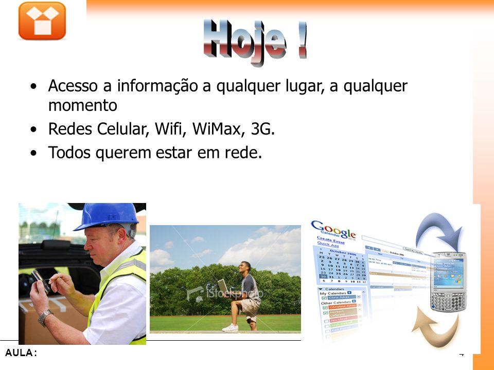 15Aula : Comunicação é o processo pelo qual uma informação gerada de um ponto no espaço e no tempo(fonte) é transmitida para outro ponto(destino) Deve respeitar regras (protocolos e normas) Comunicação 15