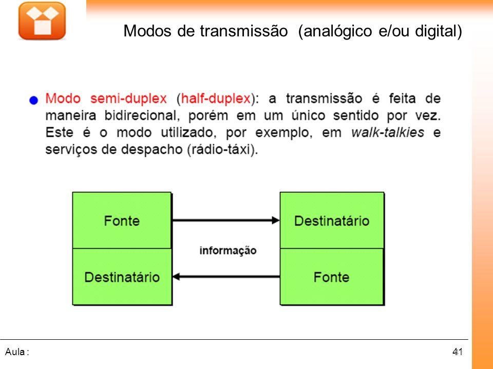 41Aula : Modos de transmissão (analógico e/ou digital) 41