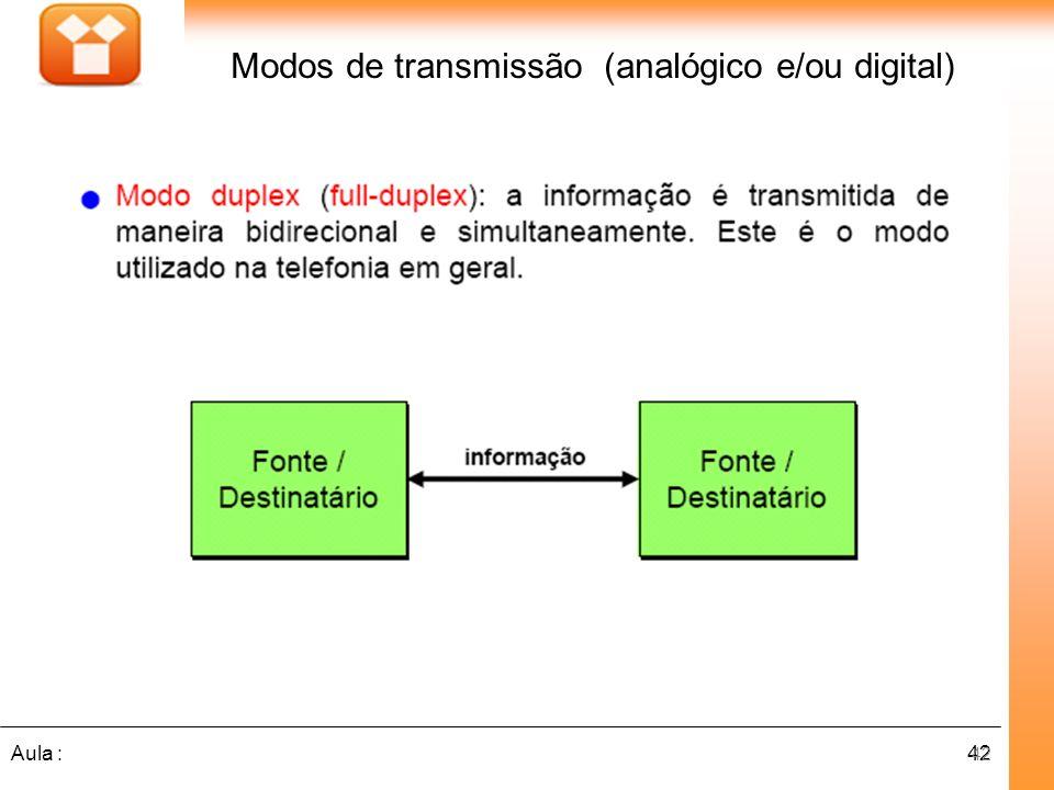 42Aula : Modos de transmissão (analógico e/ou digital) 42