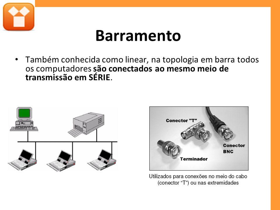Barramento Também conhecida como linear, na topologia em barra todos os computadores são conectados ao mesmo meio de transmissão em SÉRIE.