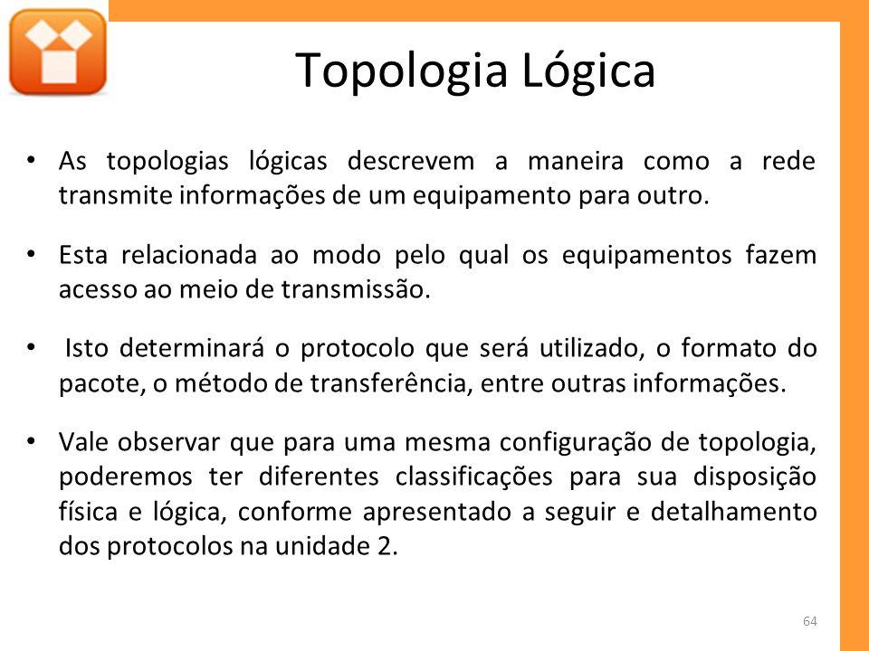 As topologias lógicas descrevem a maneira como a rede transmite informações de um equipamento para outro. Esta relacionada ao modo pelo qual os equipa