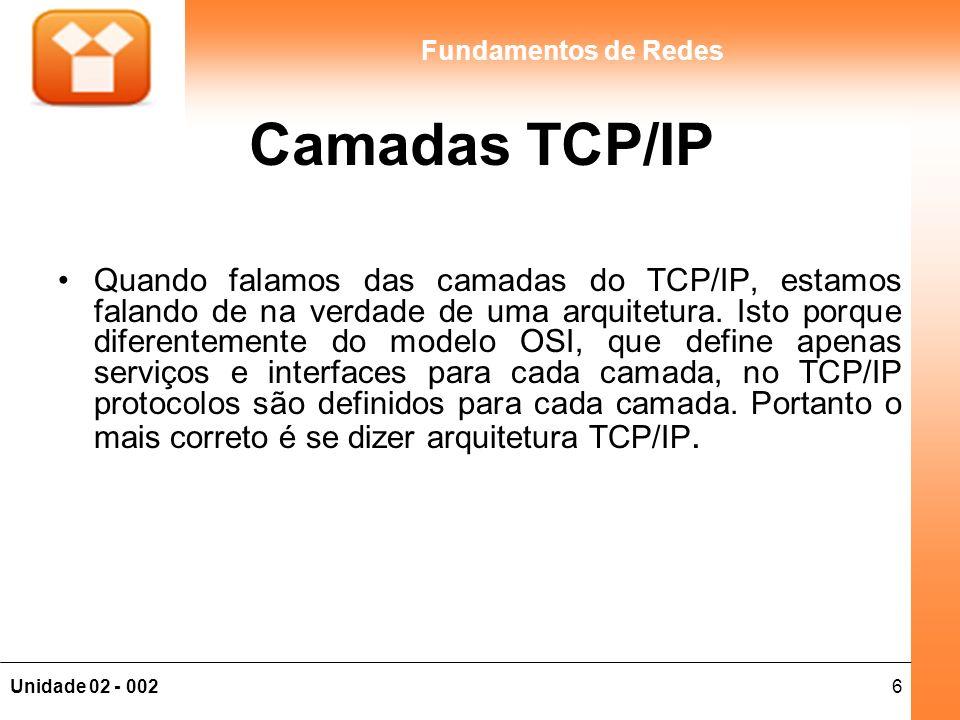6Unidade 02 - 002 Fundamentos de Redes Camadas TCP/IP Quando falamos das camadas do TCP/IP, estamos falando de na verdade de uma arquitetura. Isto por