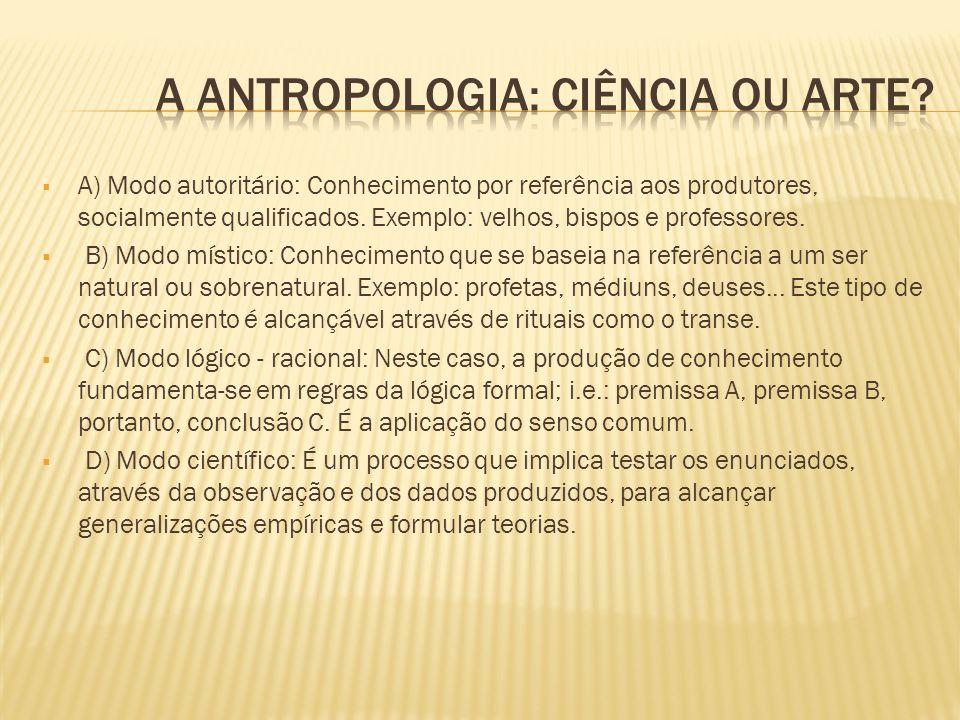 A) Modo autoritário: Conhecimento por referência aos produtores, socialmente qualificados. Exemplo: velhos, bispos e professores. B) Modo místico: Con