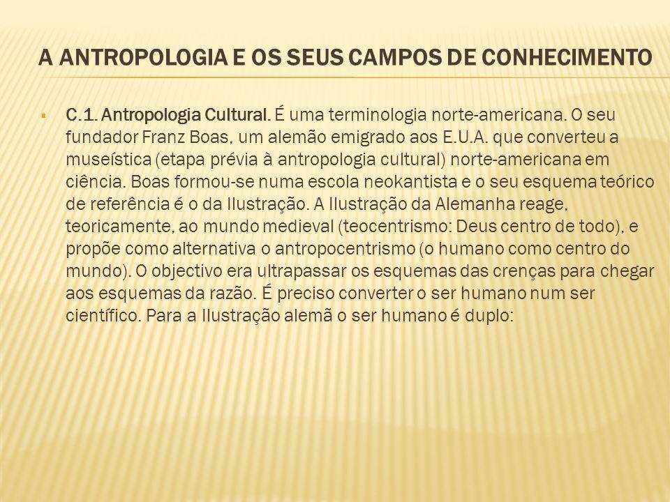 A ANTROPOLOGIA E OS SEUS CAMPOS DE CONHECIMENTO C.1. Antropologia Cultural. É uma terminologia norte-americana. O seu fundador Franz Boas, um alemão e