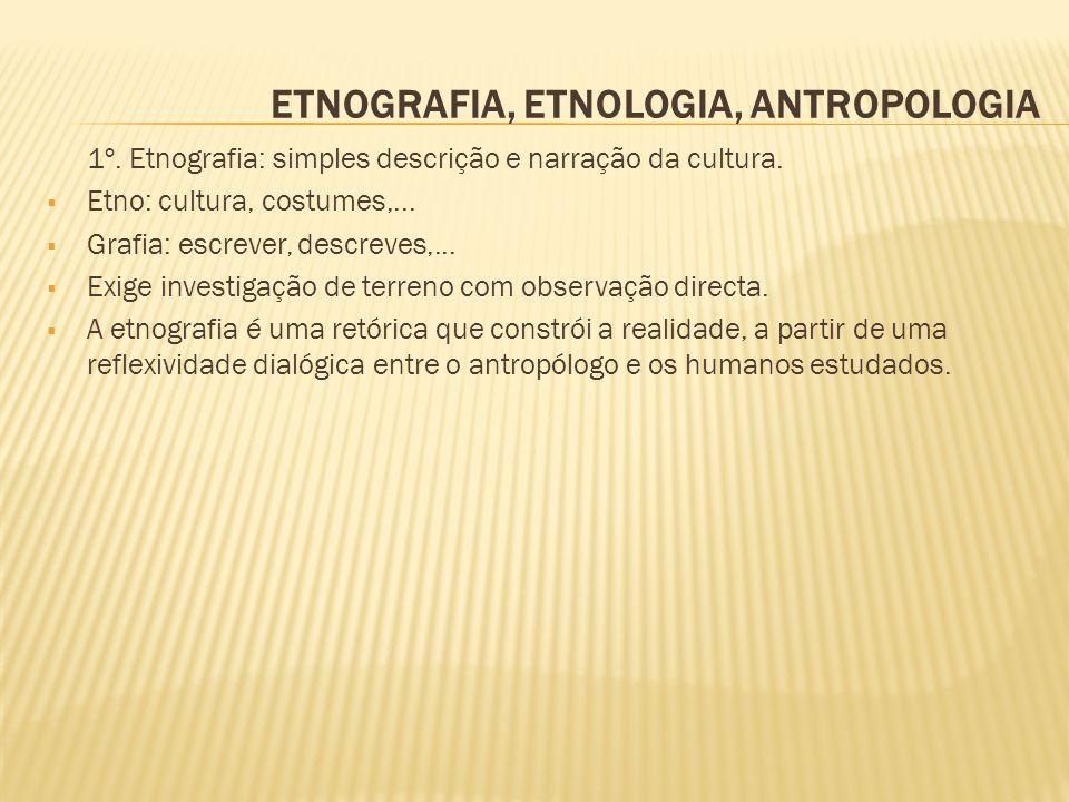 ETNOGRAFIA, ETNOLOGIA, ANTROPOLOGIA 1º. Etnografia: simples descrição e narração da cultura. Etno: cultura, costumes,... Grafia: escrever, descreves,.