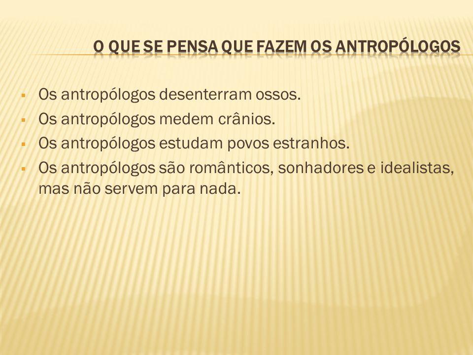 Os antropólogos desenterram ossos. Os antropólogos medem crânios. Os antropólogos estudam povos estranhos. Os antropólogos são românticos, sonhadores