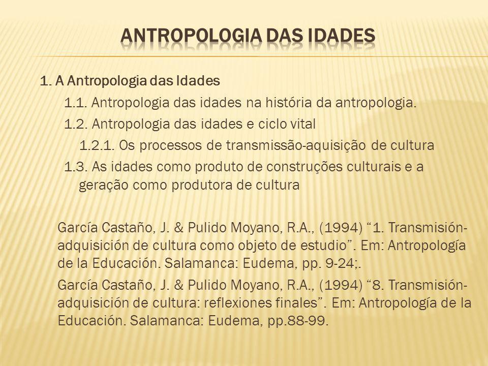 1. A Antropologia das Idades 1.1. Antropologia das idades na história da antropologia. 1.2. Antropologia das idades e ciclo vital 1.2.1. Os processos