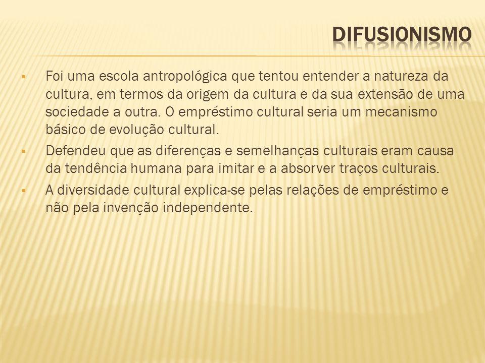 Foi uma escola antropológica que tentou entender a natureza da cultura, em termos da origem da cultura e da sua extensão de uma sociedade a outra. O e