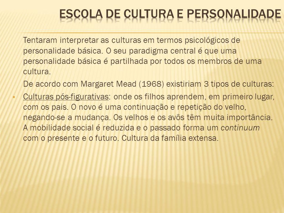 Tentaram interpretar as culturas em termos psicológicos de personalidade básica. O seu paradigma central é que uma personalidade básica é partilhada p