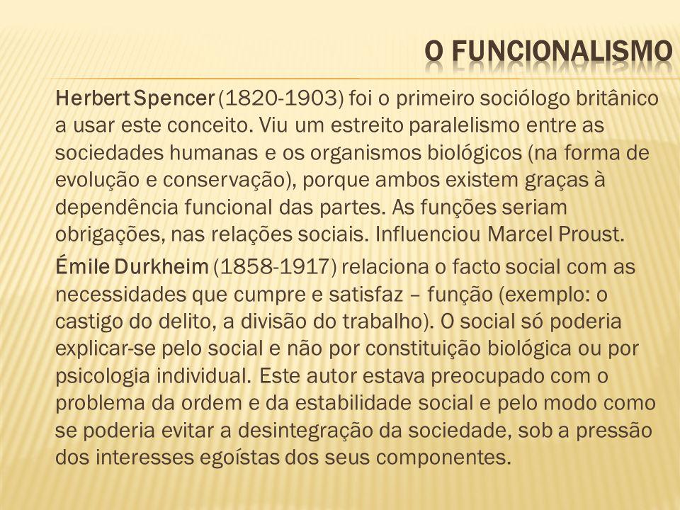 Herbert Spencer (1820-1903) foi o primeiro sociólogo britânico a usar este conceito. Viu um estreito paralelismo entre as sociedades humanas e os orga