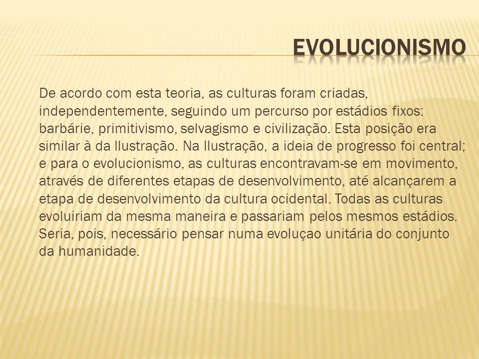 De acordo com esta teoria, as culturas foram criadas, independentemente, seguindo um percurso por estádios fixos: barbárie, primitivismo, selvagismo e