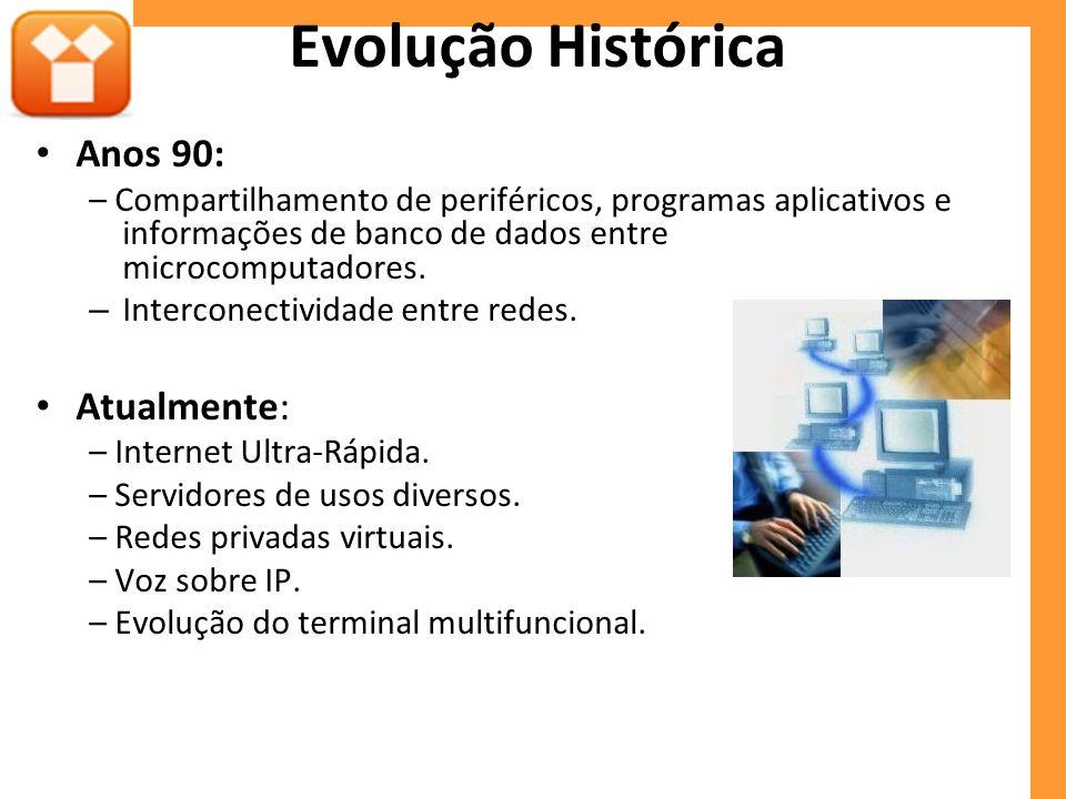 Evolução Histórica Anos 90: – Compartilhamento de periféricos, programas aplicativos e informações de banco de dados entre microcomputadores. – Interc