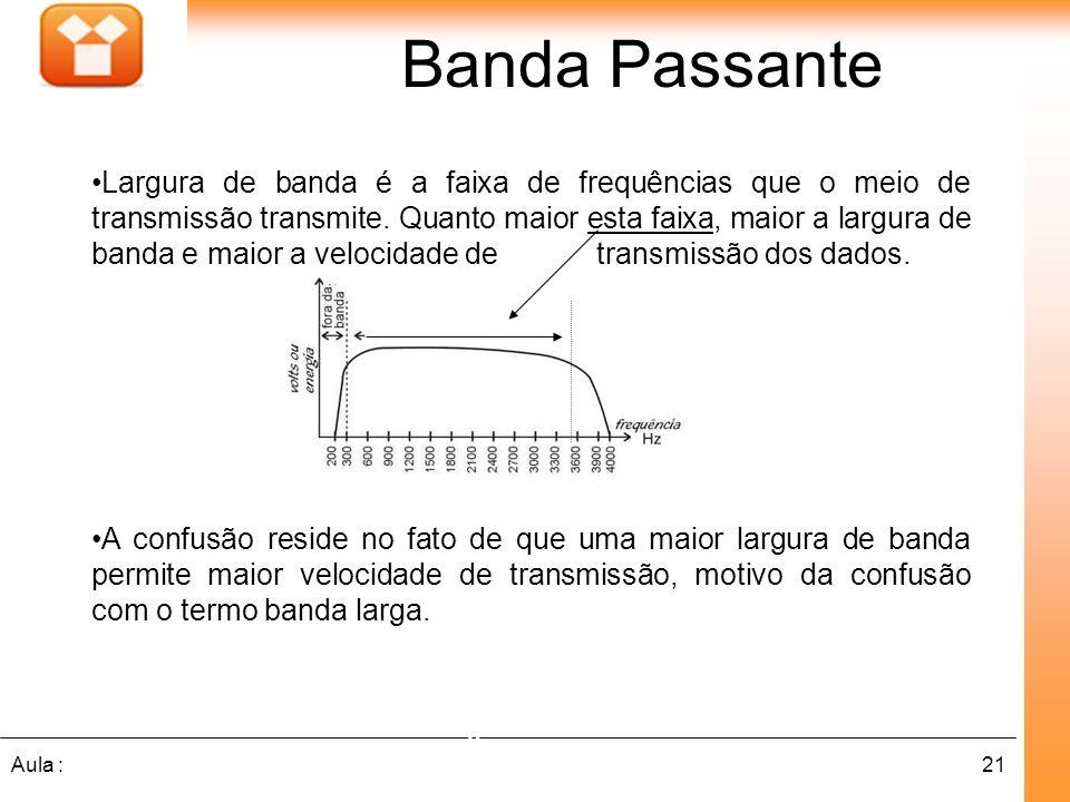 21Aula : Banda Passante Grande Largura de Banda Largura de banda é a faixa de frequências que o meio de transmissão transmite. Quanto maior esta faixa