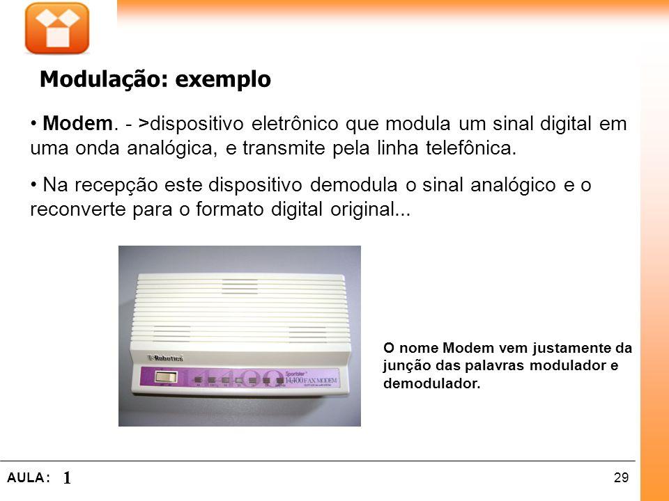 29AULA : 1 Modem. - >dispositivo eletrônico que modula um sinal digital em uma onda analógica, e transmite pela linha telefônica. Na recepção este dis