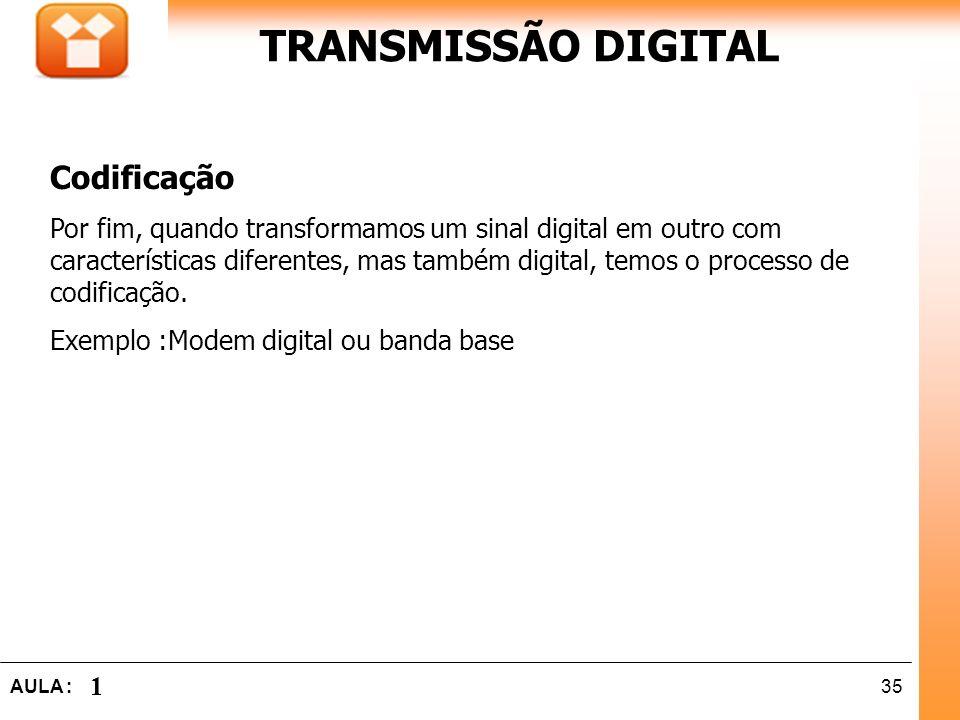 35AULA : 1 TRANSMISSÃO DIGITAL Codificação Por fim, quando transformamos um sinal digital em outro com características diferentes, mas também digital,
