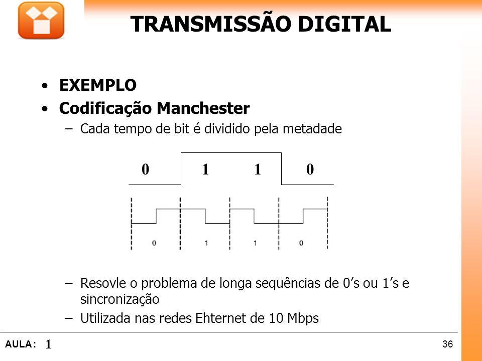 36AULA : 1 TRANSMISSÃO DIGITAL 0 1 1 0 EXEMPLO Codificação Manchester –Cada tempo de bit é dividido pela metadade –Resovle o problema de longa sequênc
